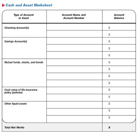 Optional Exercise: Cash and Asset Worksheet