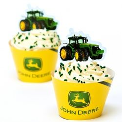 John Deere Tractor - Cupcake Wrappers and Picks (12)