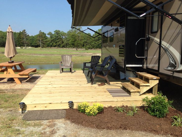 Add Deck for summer RV home for lovely outdoor space