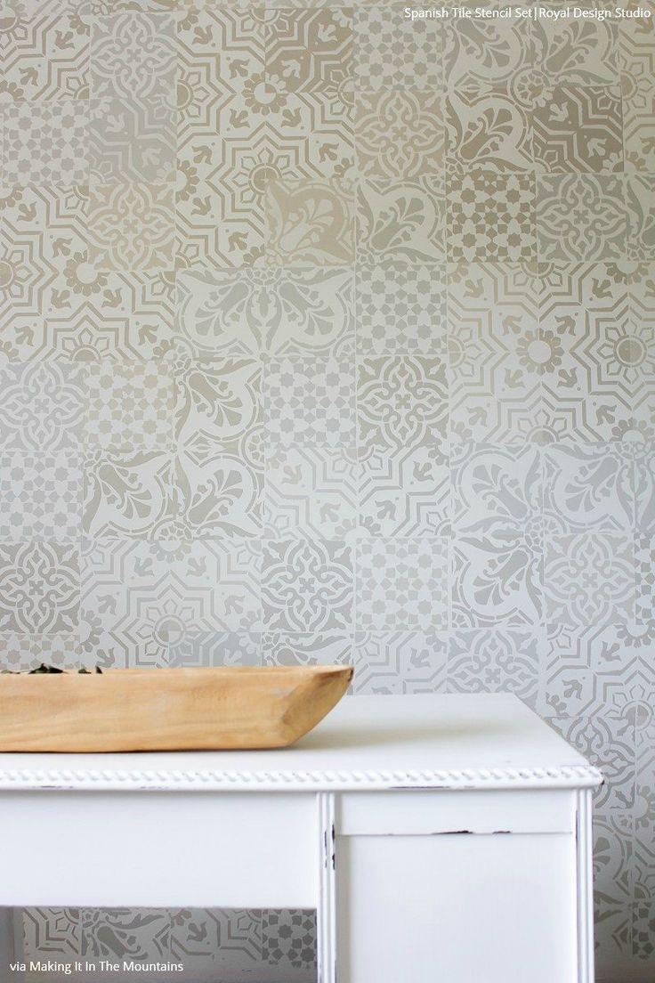 98 best tile wall stencils images on pinterest basket boho patterns stenciled on wall decor royal design studio spanish tile stencil set amipublicfo Gallery