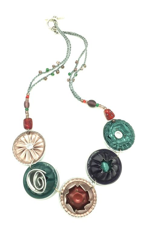 Upcycled Nespresso necklace by Ronit Schulman