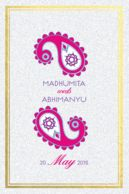 Wedding cards Paisley Droplets Pink