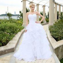 2016 Em Estoque Espartilho Vestidos de Casamento Do Marfim Branco Robe de Mariee Organza Frisado Ruffled Plus Size vestido de Noiva Barato alishoppbrasil