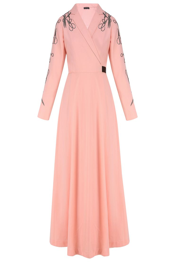 Peach embroidered scissors motifs overlapped dress available only at Pernia's Pop Up Shop.