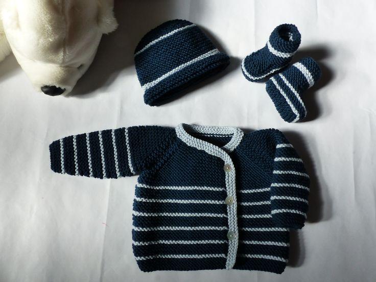 Trousseau naissance/bébé garçon, brassière, bonnet et chaussons, tricoté en pure laine mérinos, extra doux, lavable en machine : Mode Bébé par bbgreen
