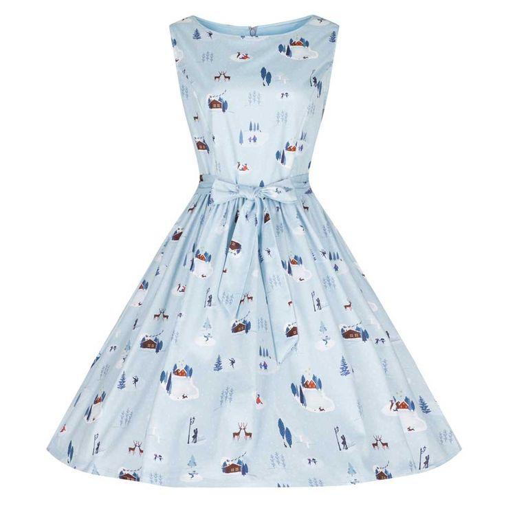 Lindy Bop Swing Audrina jurk met winter/schaats print licht blauw - Vi
