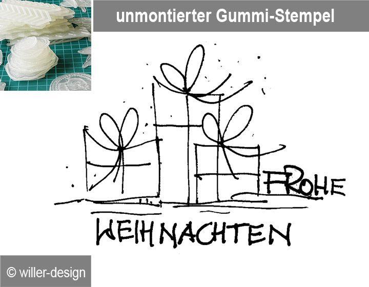 Stempel Frohe Weihnachten mit Päckchen, unmontiert von StempelBox auf DaWanda.com