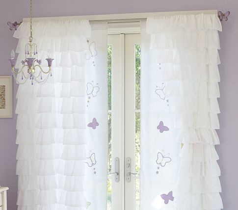 Curtains In The Nursery For Girls Curtains Pottery Barns Kids White Ruffles Ruffles Curtains Girls