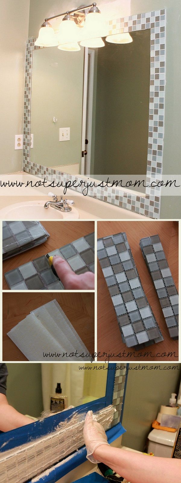 Check out this easy idea on how to make a #DIY mosaic mirror frame for #bathroom #homedecor on a #budget #project @istandarddesign
