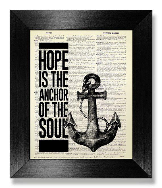 Inspirierende Angebot Poster, Anker Dekor nautische Art Strand Dekor, motivierende Wall Decor Wand hängen Badezimmer Dekor, Hope Anchor Seele Kunst