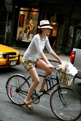 Chic floral shorts with striped top and hat...fun pattern mix!