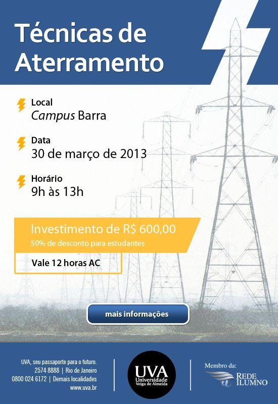 Divulgação do curso de extensão Técnicas de Aterramento, da Universidade Veiga de Almeida.