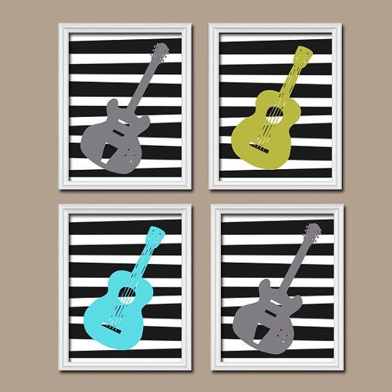 GUITAR Music Boy Girl Bold Colorful Print Michel Miller Inspired Artwork Set of 4 Prints WALL Decor ART Crib Nursery