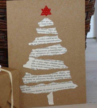<b>Maak je eigen kaartjes</b><br>Heb je een stapel oud papier liggen in de berging? Gooi deze dan niet weg, maar leef je uit met schaar, papier, lijm, stift, potlood, stempels, oude magazines, resten stof, oude postkaartjes en prentenboeken om je eigen kerstkaartjes te maken. Met oude landkaarten, kalenders en behangpapier kan je een cadeau trouwens origineel inpakken.
