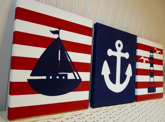 Nautical Nursery Paintings, Wall Decor Sailboat Lighthouse Anchor Canvas Painting, Baby Girl Baby Boy Nursery Bedroom, Red White Navy Blue