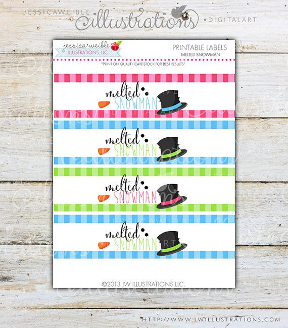 Melted Snowman Printable Party Water Bottle By Jwillustrations