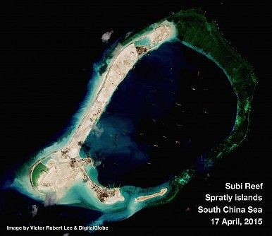 http://thediplomat.com/2015/04/south-china-sea-chinas-unprecedented-spratlys-building-program/  Subi Reef