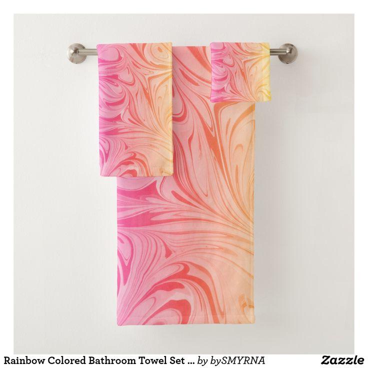 Rainbow Colored Bathroom Towel Set with Marble Art