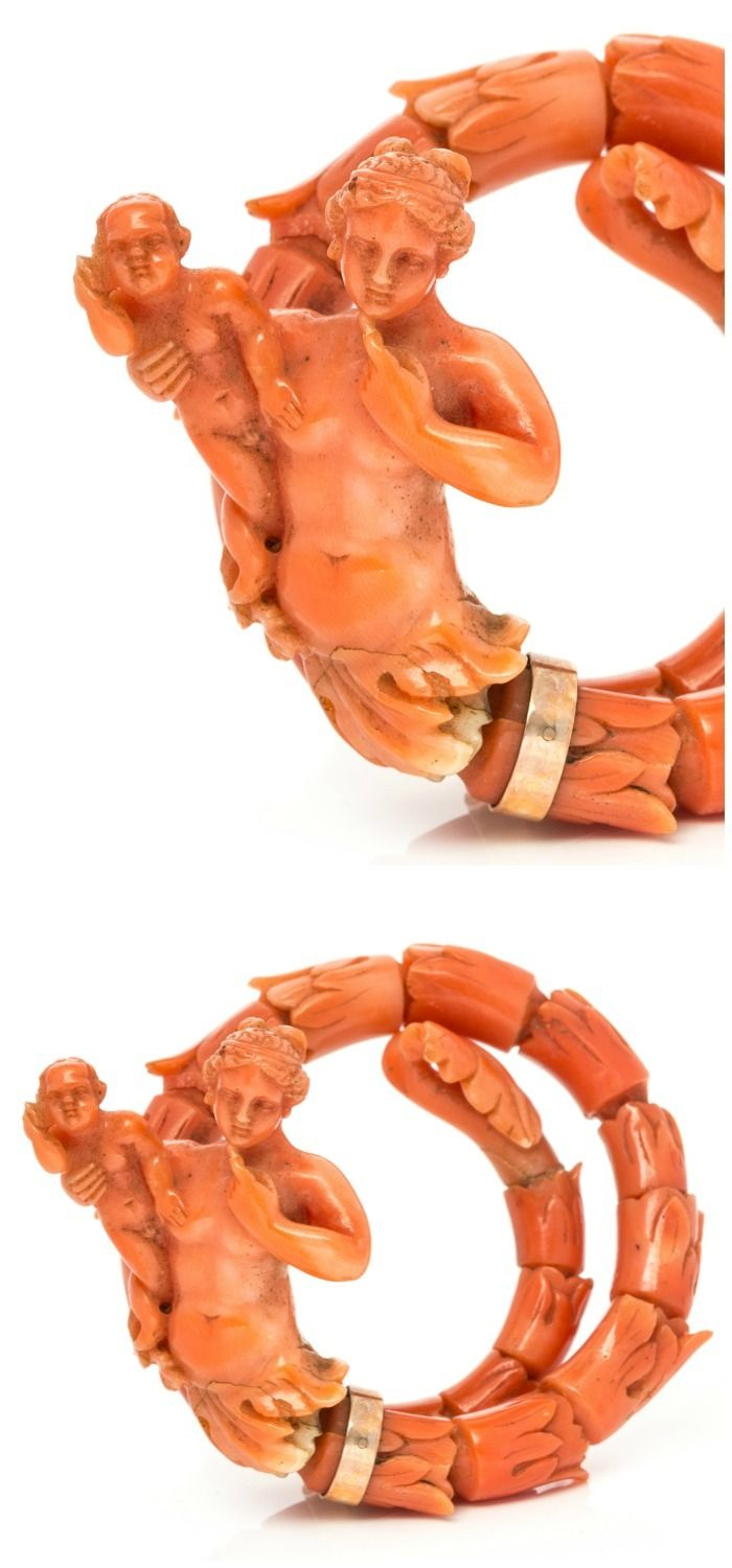 A Victorian carved coral bracelet, mid-19th century. In Leslie Hindman's upcoming September jewelry sale.