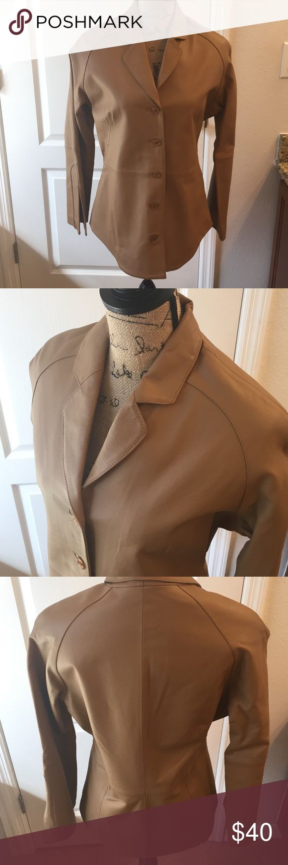 Tan Leather Jacket Tan leather jacket is perfect for a night out on the town.  Comes from a smoke and pet free home and is in perfect condition, NWOT & very faltering on!  Questions please ask - Bundle and save!!! Jackets & Coats