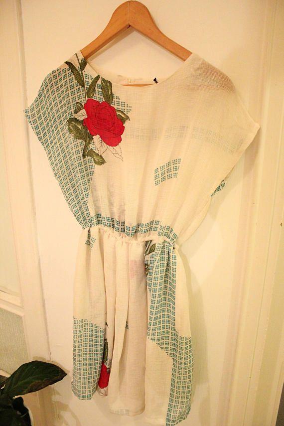 Vintage white woven floral rose dress  SALE