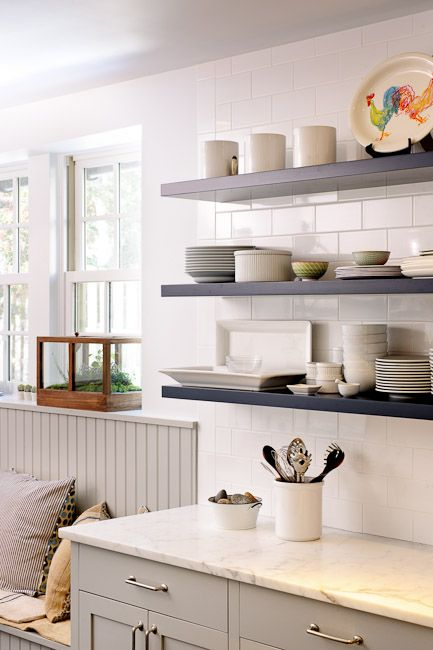 Best White Subway Tile Marble Counters Floating Shelves 400 x 300