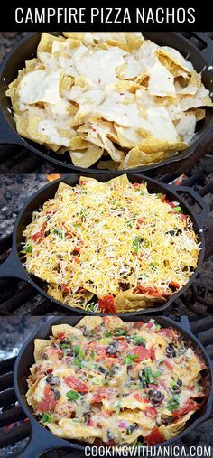 This Campfire Pizza Nachos recipe is a crowd pleaser every time we go camping. Kids & adults love it. Topped with queso, melted cheese, veggies, & pepperoni