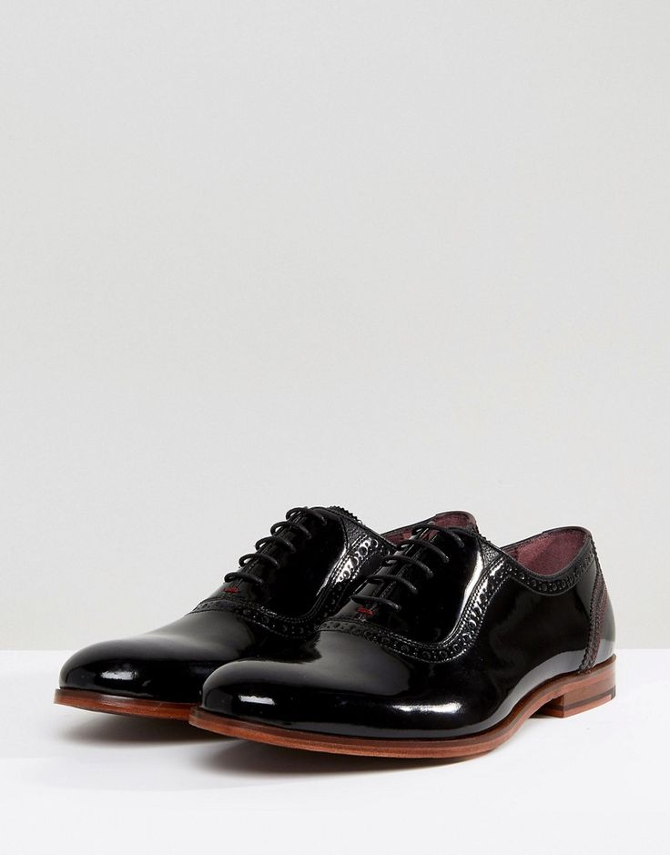 Ted Baker Anice Patent Oxford Brogue Shoes - Black