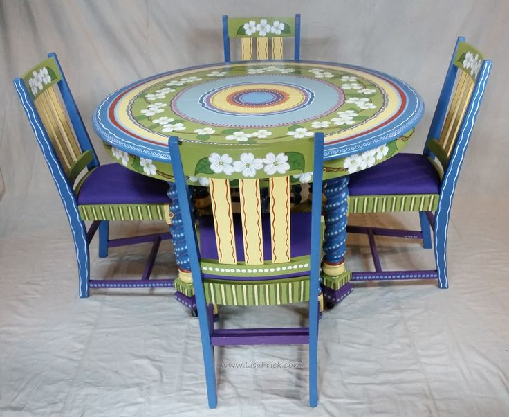 Hand painted Dogwood themed table and chairs  The furniture was provided by  the client and. 243 best Lisa s Creations images on Pinterest   Hand painted