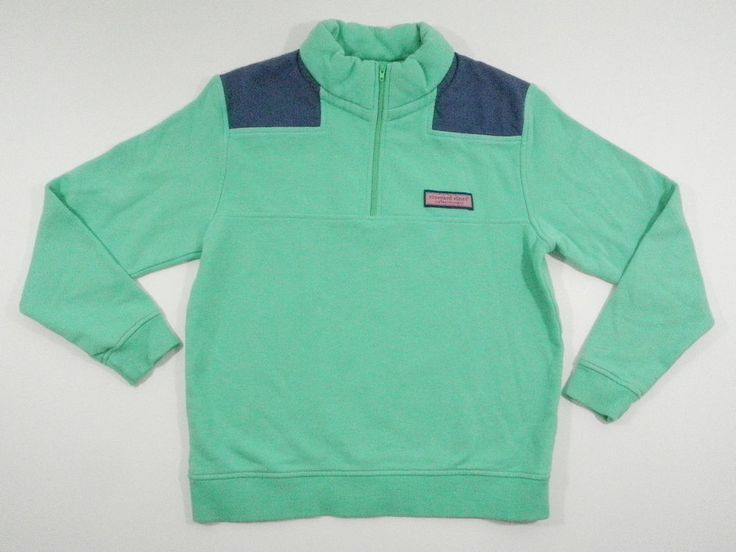 Vineyard Vines Shep Shirt Boys Medium 12 14 1/4 Zip Pullover Fleece Green Blue #VineyardVines #shepshirt #fleece #boysclothing #boysclothes