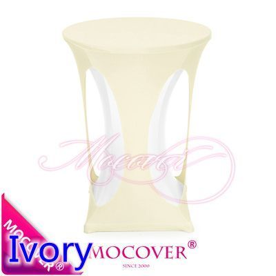 Ivory colour spandex cocktail table cover with hole lycra table cloth for wedding banquet party high bar table decoration #Affiliate