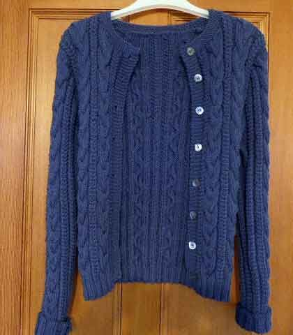 Quince Cardigan by Kim Hargreaves. Knitted in Rowan Super Fine Merino Aran in Dusk.
