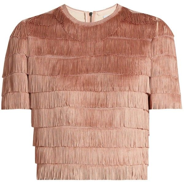 Raey Short-sleeved fringed top (£305) ❤ liked on Polyvore featuring tops, crop top, shirts, nude, short sleeve crop top, fringe tops, crepe top and raey