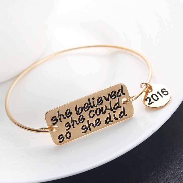 She Believed She Could So She Did Bangle Bracelet