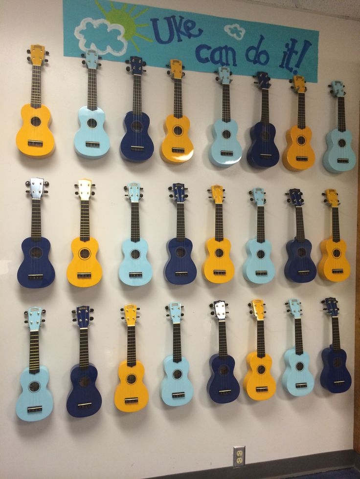 My Classroom Ukulele Storage- hung on the wall with tool hooks purchased from the hardware store. I painted the sign above to match my colors.