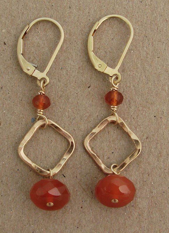hammered 14k gold filled square with orange carnelian earring