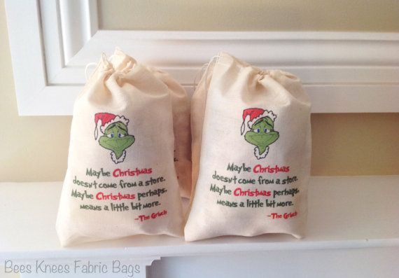The Grinch Christmas Bags. Maybe Christmas by BeesKneesFabricBags, $7.50