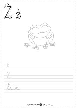 Ż jak żaba - karta pracy - Printoteka.pl