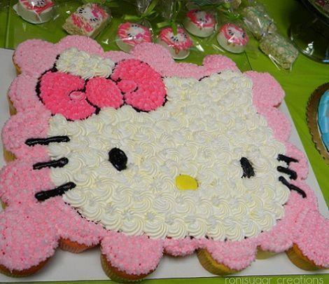 hello kitty pinata | Esta tarta de Kitty está hacha sobre magdalenas…Mmmm!