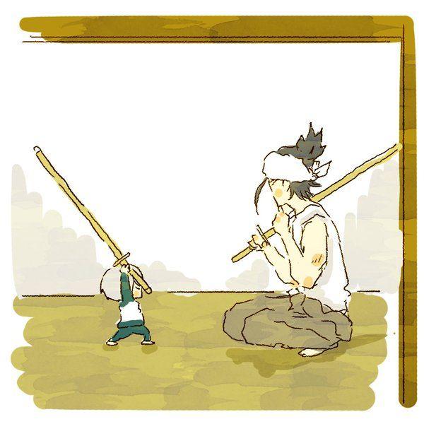 とうろぐ-刀剣乱舞漫画ログ - 今日蛍丸の手合わせが日本号はんやゆうて、様子見にいったんやけど…ほらな。