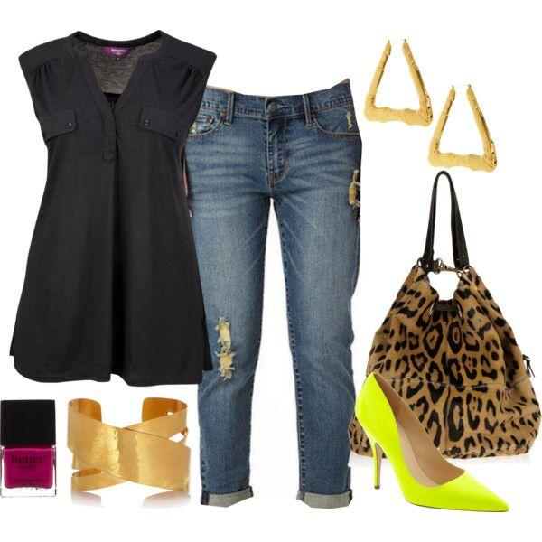 """Women's plus size fashion """"Boyfriend Jeans + Neon Heels"""" Curvy Girl Fashion, Look Fashion, Plus Size Fashion, Fashion Outfits, Womens Fashion, Fashion Black, Cheap Fashion, Daily Fashion, Fashion Ideas"""