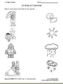 """Weather Match - Under the """"critical thinking skills workshets"""" there is another weather worksheet titled """"Winter or Summer"""" which is a cut and paste classification, and one called """"Different Weather"""" which is a spot which one is different sheet."""