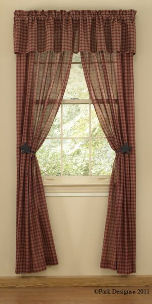 Sturbridge Wine Sheer Curtain Panels, Wine And Tan Plaid Fabric. Add A Soft  Touch To Any Window With These Gauze Like Sheer Panels. Primitive Country  Home ...