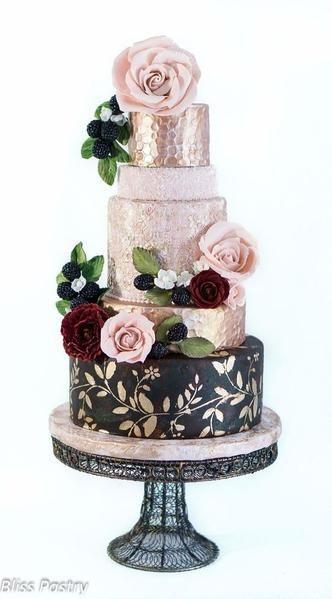 metallic wedding cakes rose gold sparkle floral