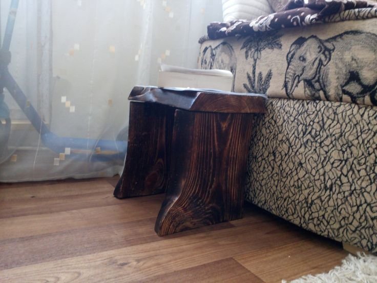 SAMPLE - small bedroom table, natural pine wooden table, handmade burned table by SoulIdeas on Etsy