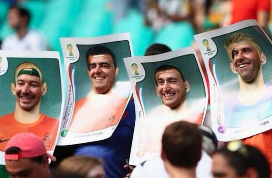 Holland fans with the best World Cup fancy dress so far - Panini stickers!