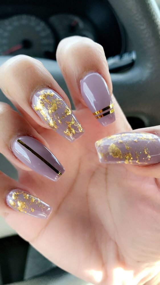 Coffin Shape Nails, Lavender And Gold Flakes And Strips!!!! Love … – Nail Desing