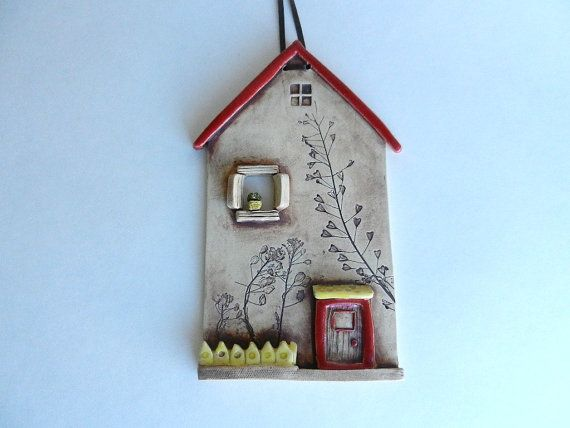 Ceramic house wall hangingclay housepottery by potteryhearts
