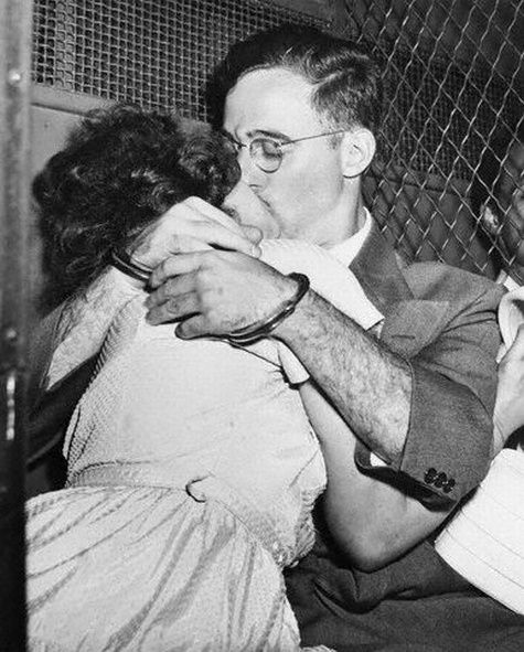 Ethel and Julius Rosenberg embrace before they were executed by electric chair at the Sing Sing Correctional Facility NYC on the 19th of June 1953 after being convicted of conspiracy to commit espionage in a time of war.