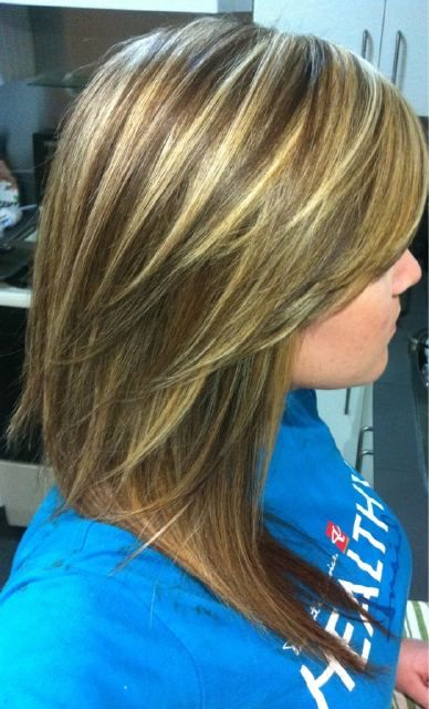 My hair after the second set of highlights. One more to go, in a few weeks :) #blonde #brunette #highlights #layers